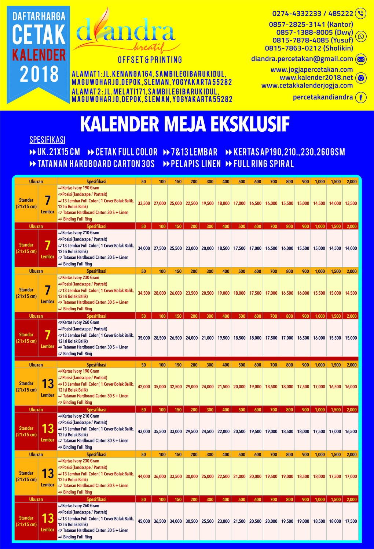 Cetak Kalender Meja 2018