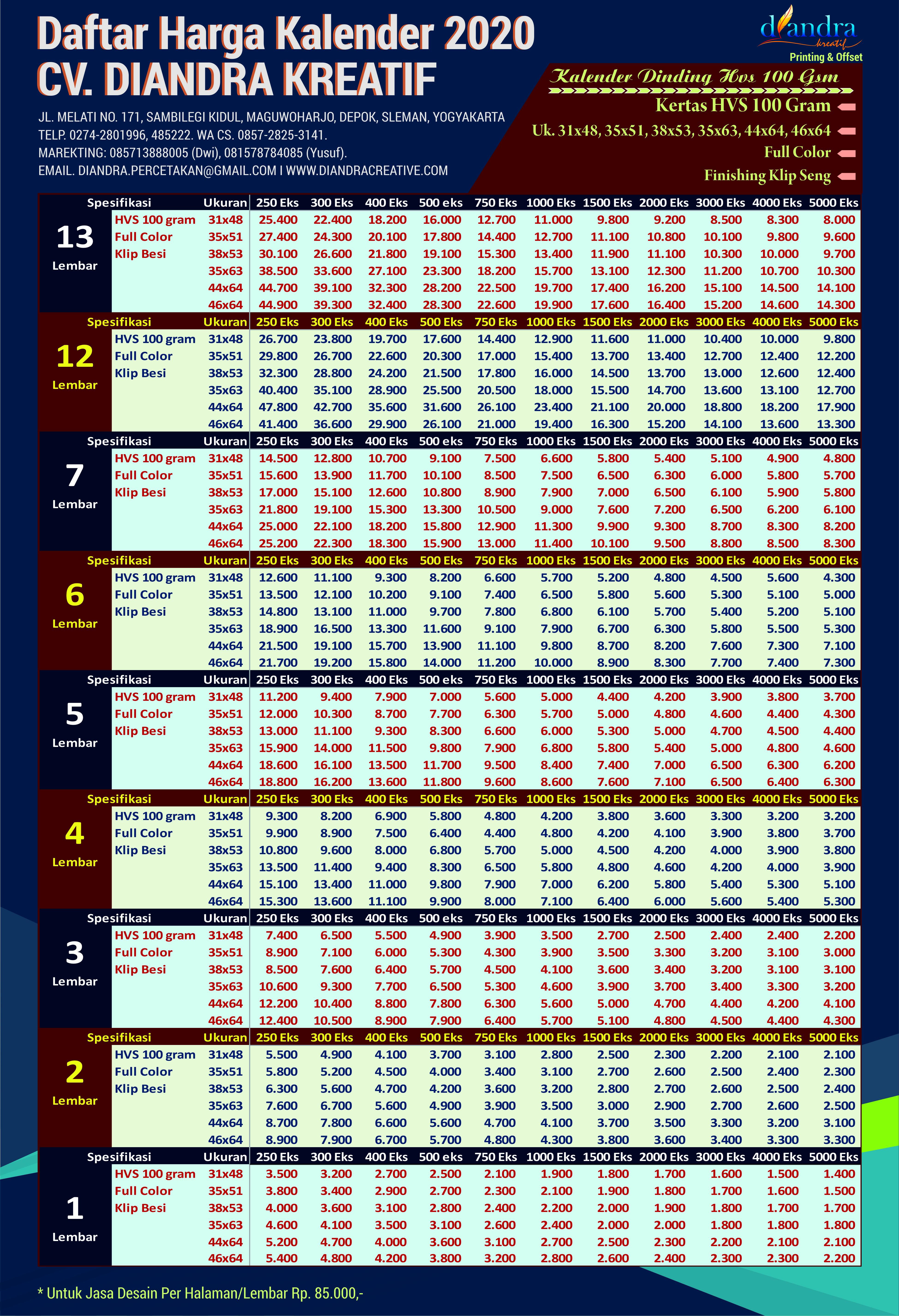 Cetak Kalender Dinding 2020